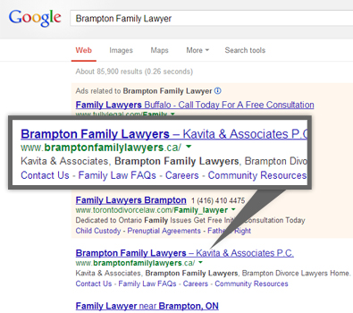 Google search results for brampton family lawyer
