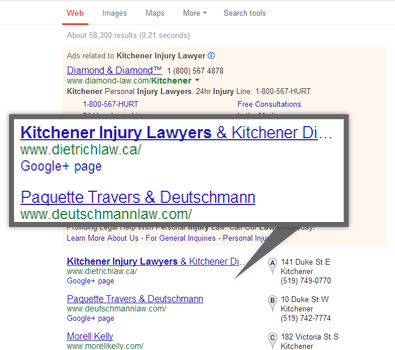 Google search results for kitchener injury lawyers