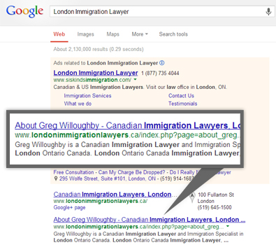 Google search results for london immigration lawyers