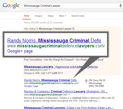 Google search results for mississauga criminal lawyers