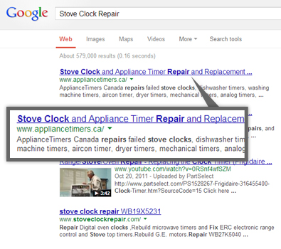 Google search results for stove clock repair