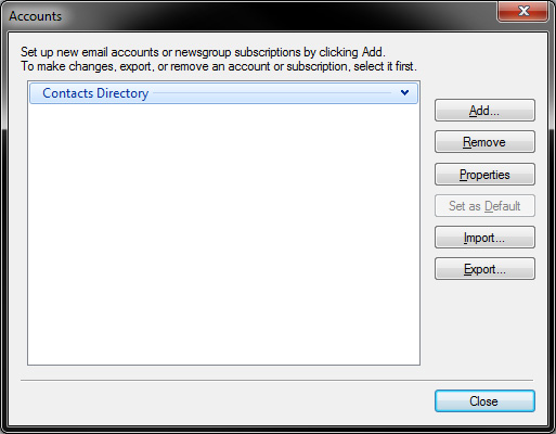 Windows Live Mail - IMAP Settings - Accounts window