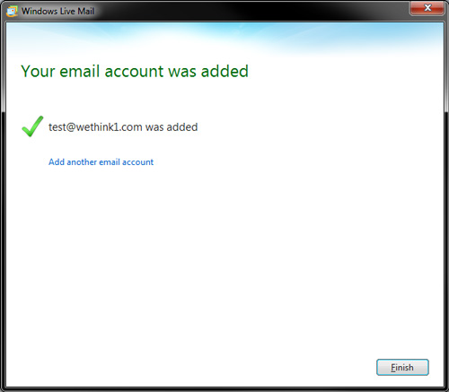 Windows Live Mail - IMAP Settings - Finish