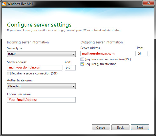 Windows Live Mail - IMAP Settings - Configure server settings