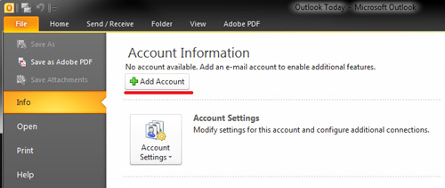 Outlook 2010 - IMAP Settings - Add Account Menu