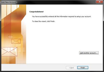 Outlook 2010 - IMAP Settings - Finish