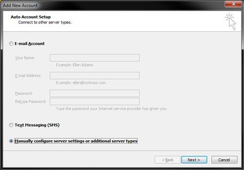 Outlook 2010 - IMAP Settings - Manually Configure Email