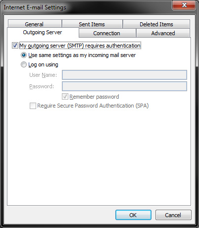 Outlook 2010 - IMAP Settings - Outgoing Server Tab