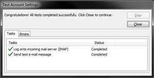 Outlook 2010 - IMAP Settings - Test Account Window