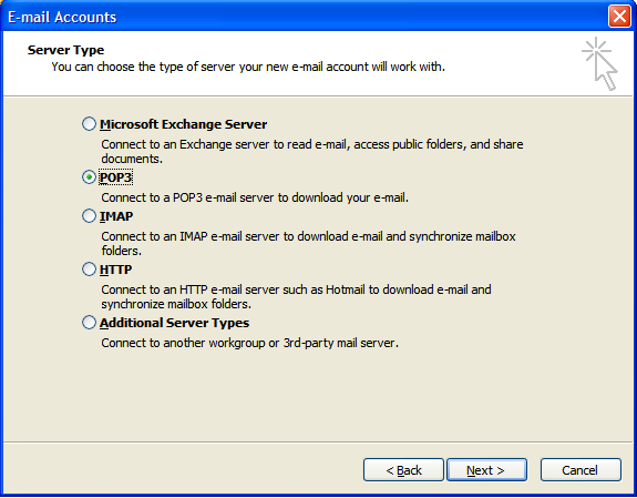 Outlook 2003 E-mail Set up - Step 3