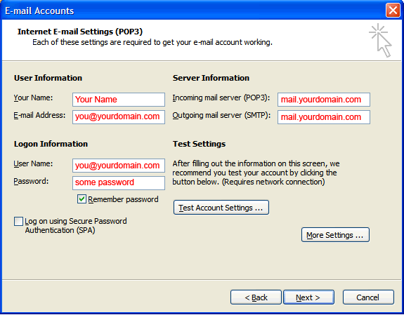 Outlook 2003 E-mail Set up - Step 4
